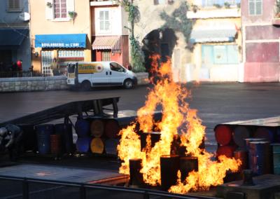 Fuego en el Motor Stunt Show en Disney Studios Paris