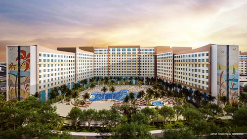 Vista aérea del hotel Endless Summer Resort Dockside en Universal Orlando