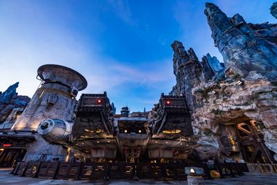 Star wars Galaxy Edge Walt Disney World Millenium Falcon at Night