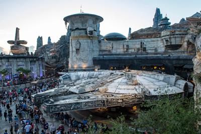 Star wars Galaxy Edge Walt Disney World Space Port at Night