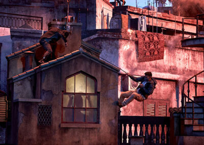 the bourne stuntacular man jumping a bulding universal orlando